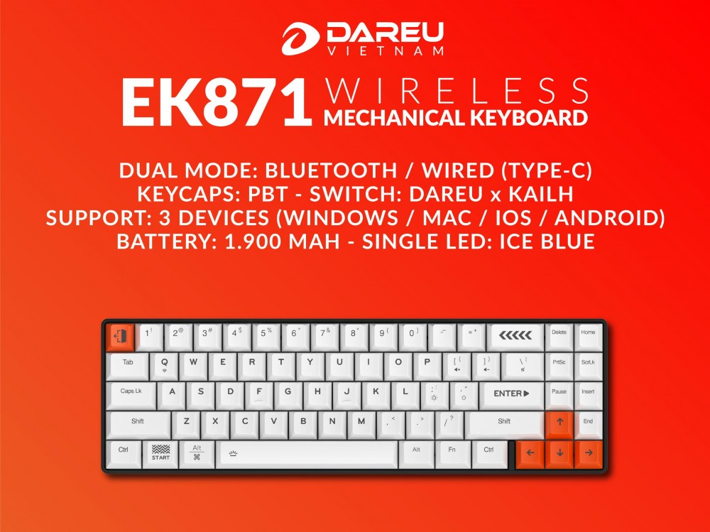 Bàn phím cơ DareU EK871 Blue Switch (Bluetooth/Wired mode/Led/3 devices)