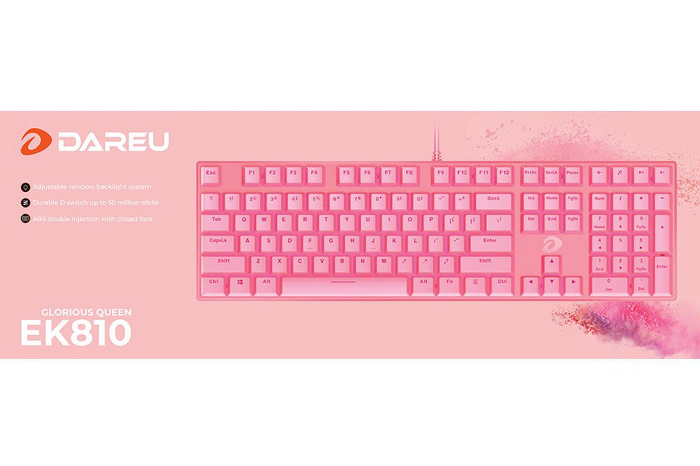 Bàn phím cơ DareU EK810 Queen Pink Brown switch