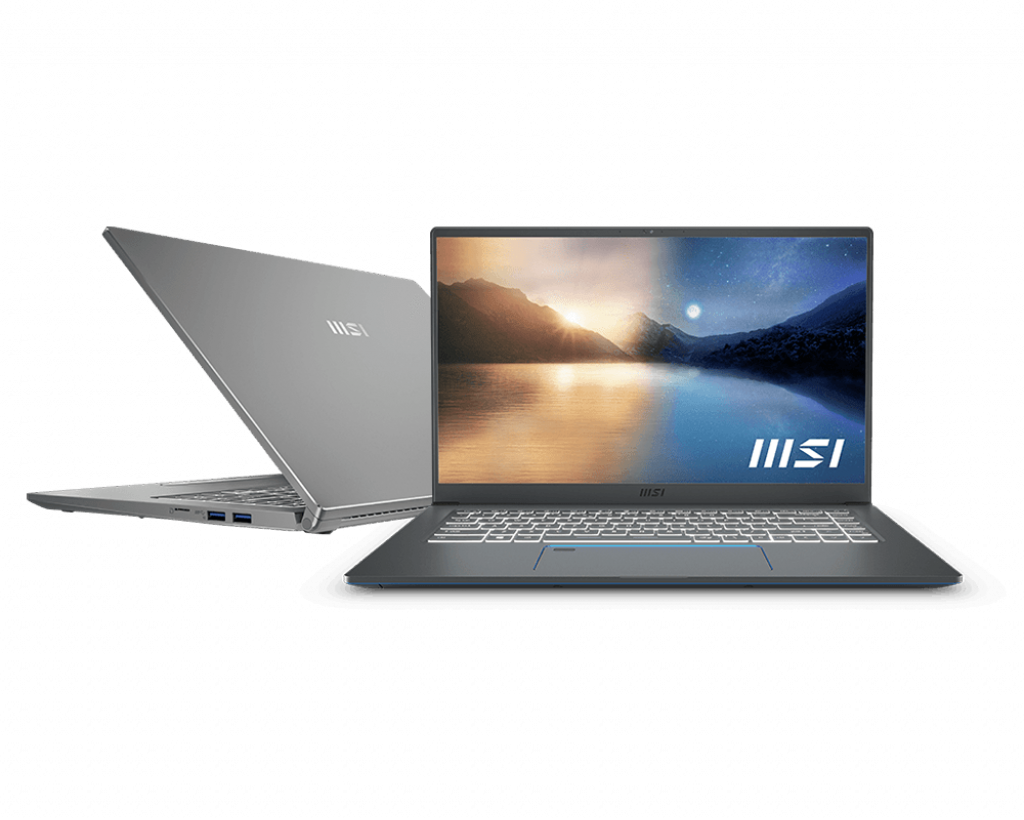 Laptop MSI Prestige 15 A11SCX (210VN)/ Gray/ Intel Core i7-1185G7 (4.80GHz, 12MB)/ Ram 16GB*2 DDR4/ SSD 1TB/ VGA NVIDIA GeForce GTX1650 Max-Q GDDR6 4GB/ 15.6 inch UHD 4K/ 4Cell/ Win10H/ 2Yrs