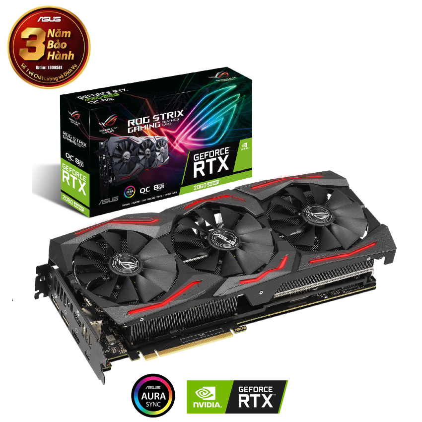 Card màn hình ASUS ROG STRIX RTX 2060 Super-O8G EVO GAMING (8GB GDDR6, 256-bit,HDMI+DP, 1x6-pin + 1x8-pin)