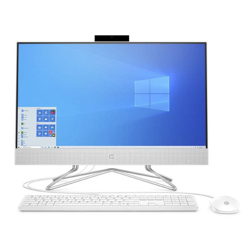 PC All In One HP 24-df0039d Touch (180N9AA)/ White/ Intel Core i3-10100T (3.0GHz, 6MB)/ Ram 4GB/ SSD 256GB/ Intel UHD Graphics/ DVDRW/ 23.8 inch FHD/ Wifi + BT/ Key & Mouse/ Win 10H/ 1Yr