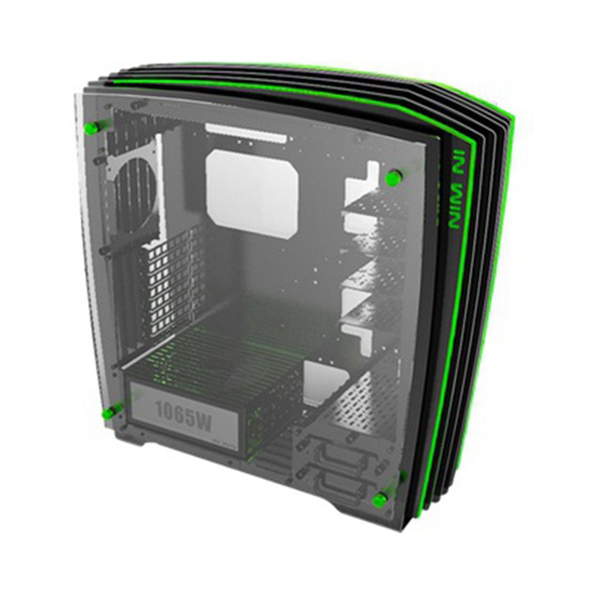 Vỏ Case InWin H-Frame Green 2.0 + Nguồn SII-1065W - 30th Anniversary Premium Signature Combo (Full-Tower Đen/Xanh Lá)