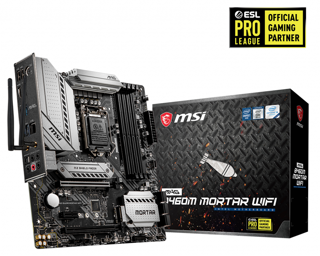 Mainboard MSI MAG B460M MORTAR WIFI (Intel B460, Socket 1200, m-ATX, 4 khe RAM DDR4)