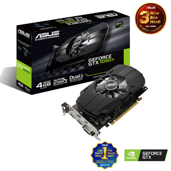 Card màn hình Asus PH-GTX1050Ti-4G (NVIDIA Geforce/ 4Gb/ DDR5/ 128 Bits)