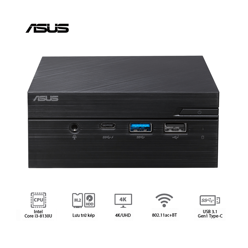 Máy tính để bàn Asus Mini PC PN60-BElead Barebone/ Intel Core I3-8130U/ Intel 802.11AC,BT/ VESA MOUNT/ VGA port, without Mouse/ Keyboard/ 3Yrs