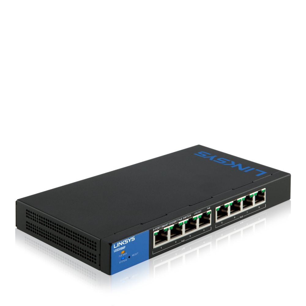 Bộ chuyển mạch LINKSYS LGS308MP SMART 8-PORT POE+ BUSINESS GIGABIT SWITCH