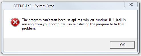 Sửa lỗi api-ms-win-crt-runtime-l1-1-0.dll trên Windows