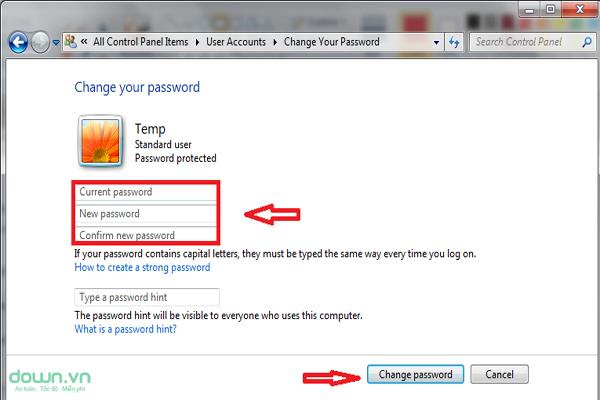 Cách đổi mật khẩu máy tính laptop - Bước 4