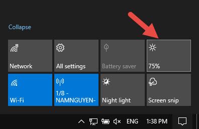 Sử dụng Action Center đề tinh chỉnh ánh sáng màn hình