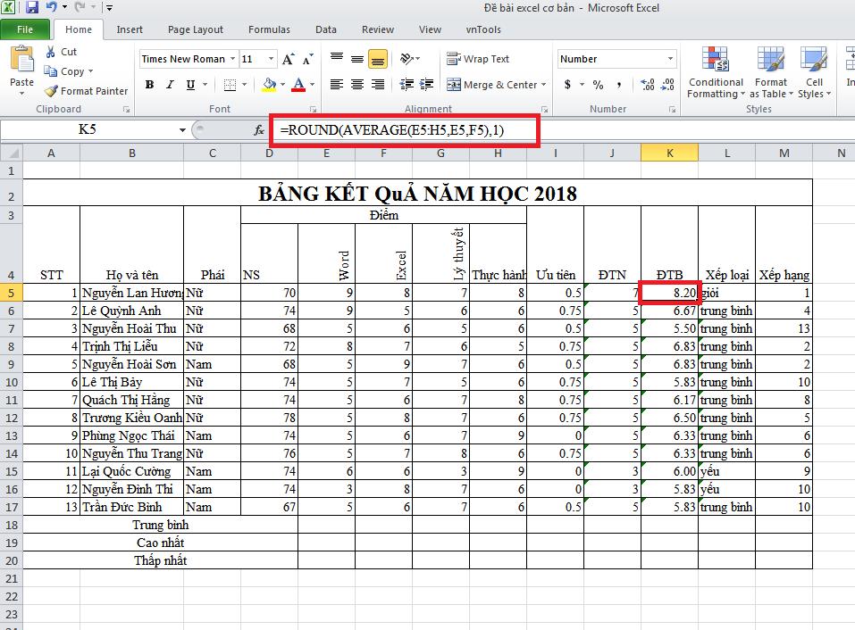 Công thức làm tròn số trong Excel hàm Round