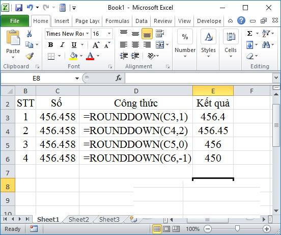 Làm tròn số trong Excel bằng hàm làm tròn xuống ROUNDDOWN