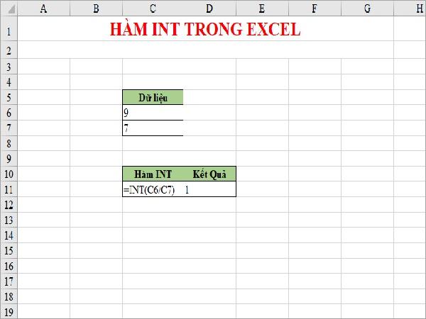 Công thức làm tròn số trong Excel hàm Int