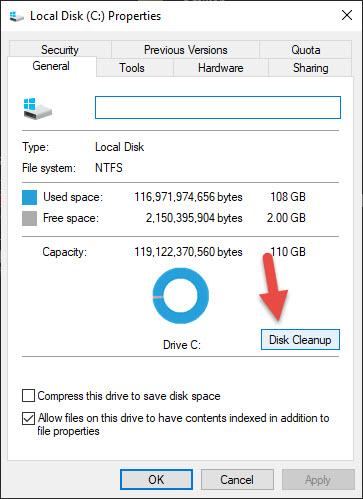 Xóa các file không cần thiết, xóa file Windows.old bằng Disk Cleanup bước 2