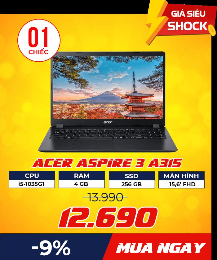 Acer Aspire 3 A315 - Flash Sale mỗi ngày: Xả hàng & Giảm giá cực sốc - Ben Computer