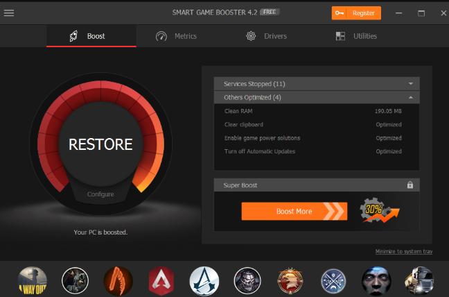 Smart Game Boost - Phần mềm tăng tốc game, giảm giật lag