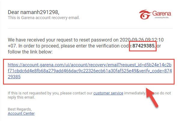 Hướng dẫn lấy lại lại mật khẩu bằng Email khi quên mật khẩu Garena - Ảnh 8
