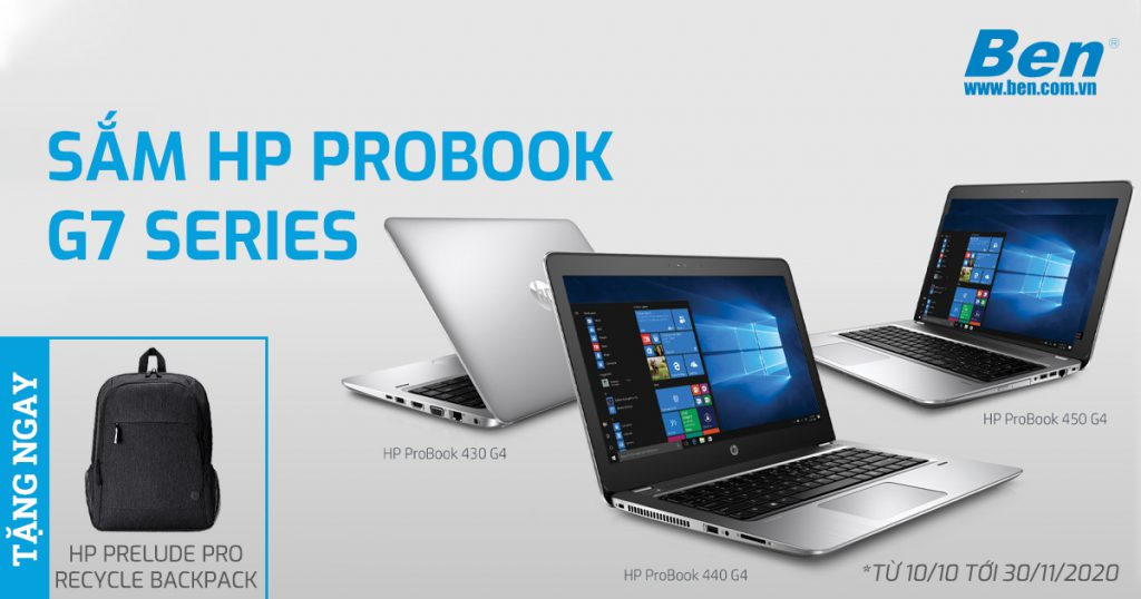 km HP probook - Mua Laptop HP Probook G7 series tặng Balo Prelude Pro Recycle phong cách - Ben Computer