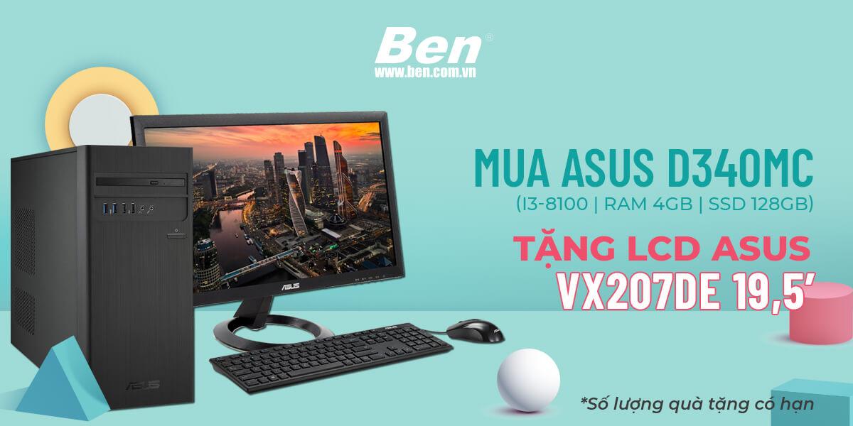 km asus d340mc - Khuyến mãi sắm PC Asus tặng ngay màn hình LCD 19,5 inch - Ben Computer