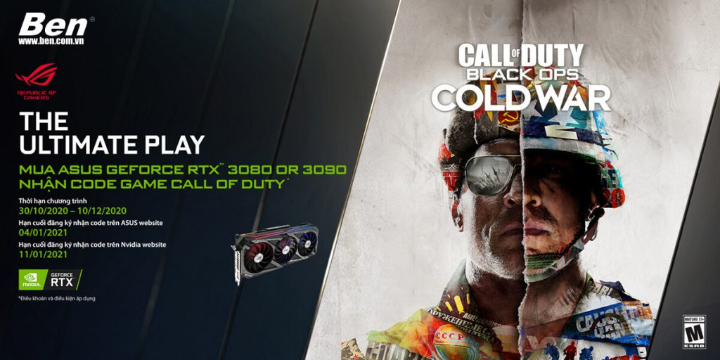 VGA Game Bundle Banner 1 - Mua Card đồ họa ASUS RTX3090/ 3080 series nhận ngay code game Call Of Duty: Black Ops Cold War - Ben Computer