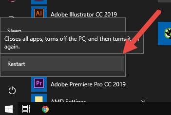 Khắc phục lỗi USB Device Not Recognized bằng cách khởi động lại máy tính Windows