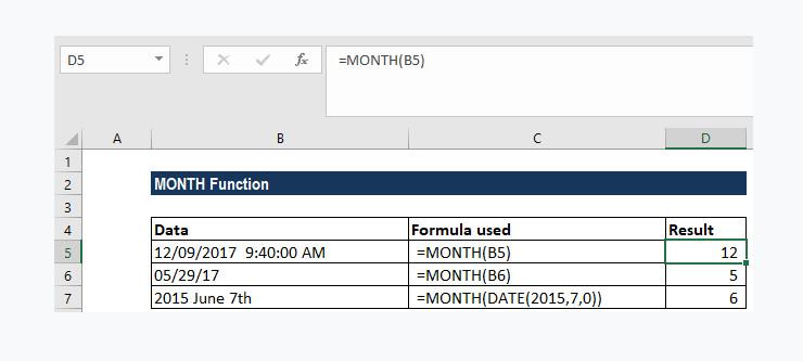 Hướng dẫn cách sử dụng Hàm lấy tháng năm trong Excel