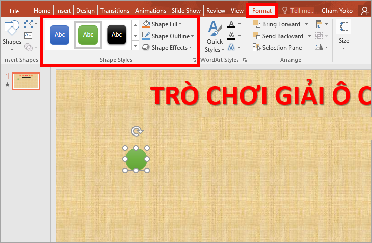 Chọn thẻ Insert -> Shapes -> Oval