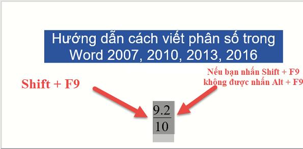 Cách viết phân số trong word