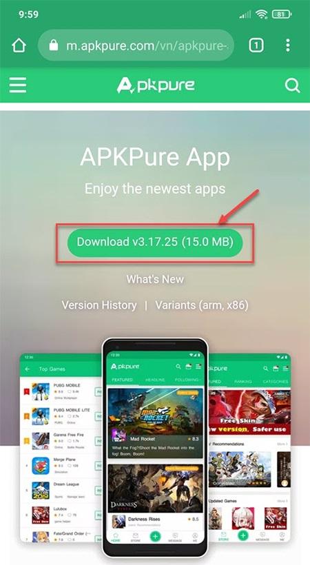Tải Play Together APK bằng phần mềm APKPure