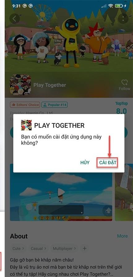 Cài đặt game Play Together về điện thoại bằng ứng dụng Tap tap